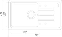 Гранитная мойка Globus Lux LUGANO черный 780х435мм-А0002