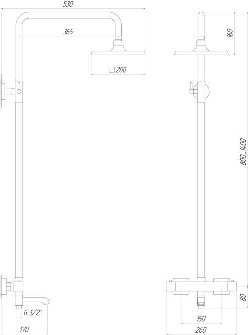 Душевая система Globus Lux GLM-0041T-BB