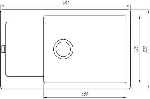 Гранитная мойка Globus Lux MALABI  графiт 780×500мм-А0001