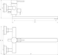 Смеситель для ванны Globus Lux ALPEN SBT1-208-BB