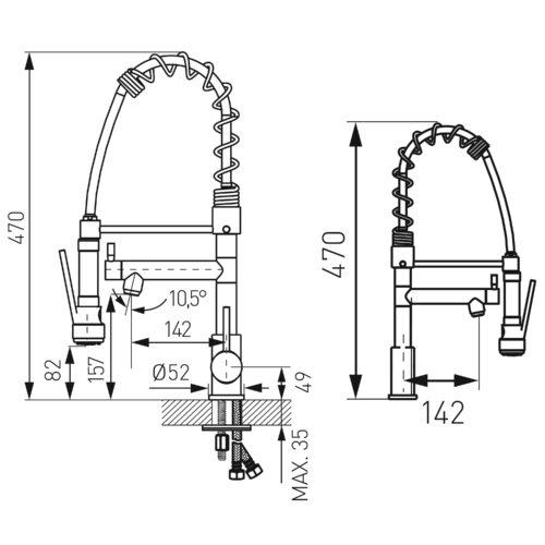 Смеситель для мойки Ferro F-Master с выдвижным изливом (BFE41)