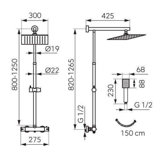 Душевая система с термостатом FERRO TREVI (NP75SQ-TRV7U-BL)