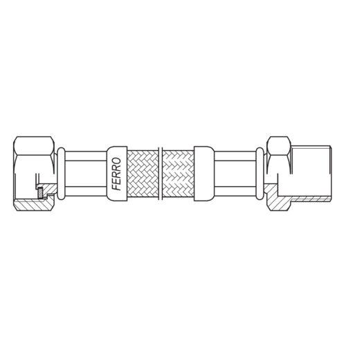 """Шланг в оплётке из нержавеющей стали с уплотнительной прокладкой 1/2"""" FERRO (PWS81)"""