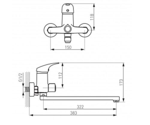 Смеситель для ванны FERRO ONE (BFO55A)
