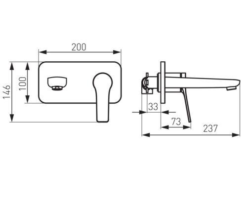 Настенный смеситель FERRO STRATOS (BSC3PABL)