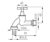 Кран водозаборный 1/2 FERRO (KCC1B)