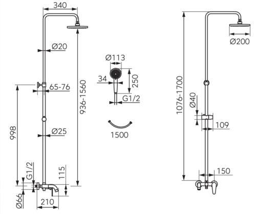 Душевая система на 3 режима FERRO ALGEO (NP78-BAG13U)