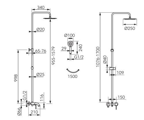 Душевая система на 3 режима FERRO FIESTA (NP79-BFI13U)