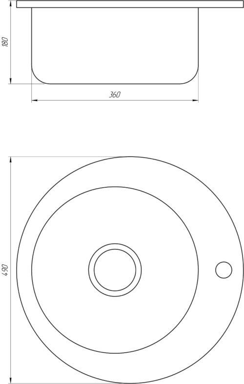 Мойка кухонная Mira MR 490 E Satin 0.6