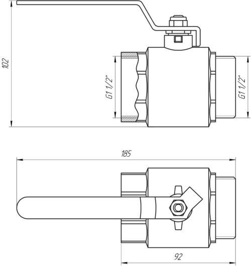 Кран шаровый прямой PROFESSIONAL 1 1/2″ НВ КР PN40 QP152