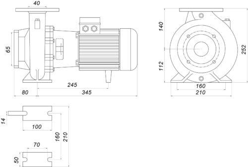Насос моноблочный IR 40-125B 2,2 кВт SAER (35 м3/ч, 22 м)